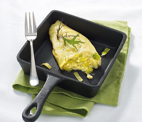 Omelette poireaux et fromage